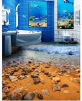 Wholesale heat toilet - Wholesale-Custom Photo Floor Wallpaper Beautiful Beach Surf Toilet Bathroom Living Room 3D Flooring Self-adhesive Floor decor Painting
