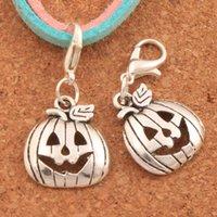 halloween bezaubern perlen großhandel-100 teile / los Halloween Kürbisse Karabinerverschluss Charme Perlen 32,3x15,9mm Antike silber Schmuck DIY C1098