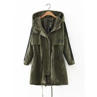 gabardina de mujer s verde al por mayor-Spring-Autumn Army verde largo Trench Coat para mujer Windbreaker mujeres con capucha Ttench-coat simple sólido bolsillos Overcoat Femenino
