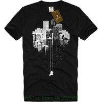columpios al por mayor-Urban City Playground Camiseta con estampado Banksy Graffiti Swing para hombre Skyscraper Tee S - Xxl Original Tops Novedad