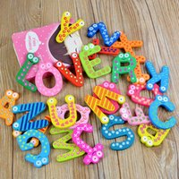letras del alfabeto de la nevera al por mayor-Juguetes para bebés 26 Unids Cartas Kids Wooden Alphabet Fridge Magnet Child Educational Toy
