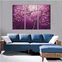 leinwand lila blume wand kunst großhandel-Handgemaltes abstraktes purpurrotes Blumen-Ölgemälde auf Segeltuch handgemachtem Segeltuch-Blumenmalereien moderne Wand-Kunst-3 Platten-Bilder