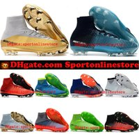 Wholesale Womens Cheap Football Boots - 2018 outdoor mens womens soccer cleats mercurial superfly cr7 football boots boys kids youth high top soccer shoes neymar ronaldo pink cheap