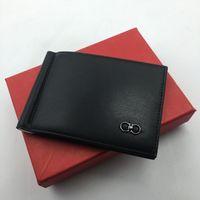 Wholesale money clip leather case resale online - 100 Genuine Leather Slim Mens Credit Card Wallet Money Clip ID Card Case Simple Design Burnished Edges New Luxury Men Bifold Wallets