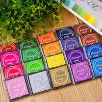 Wholesale Paint Stamps - Creative hand tools finger painted decoration classification mark lovely 4*4cm practical color ink pad DIY tubber stamp pad 20-color boxed