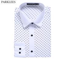 белые рубашки поло оптовых-White Polka Dot Casual Shirt Men Slim Fit Chemise Homme 2018  New Long Sleeve Mens Dress Shirts Camisa Social Masculina 2XL