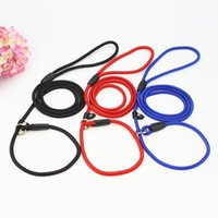 Wholesale dog nylon collar leash led resale online - Multi Size Color Nylon Rope Dog Whisperer Style Slip Training Leash Lead Sturdy Adjustable Auto Shrink When Pet Running Collar dg3 Z