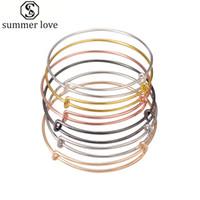 ingrosso gioielli che fanno filo d'argento-50pcs lotto argento oro colore braccialetto di fascino braccialetto espandibile filo braccialetto regolabile nero per le donne fare gioielli fai da te