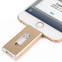 iphone 16g großhandel-OTG USB Stick für Apple iPhone 5S 6 6S Plus 7 8 3 in 1 Pen Drive Metall Pendrive 16G 32G 64G