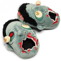 Wholesale punk cosplay - Plush Zombie Slippers Lovers Cosplay Punk Plush Gift Shoes Creative Funny Cartoon House Warm Slippers OOA4460