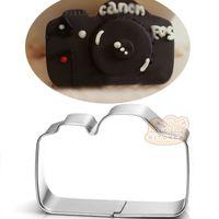 çerez kesici pullar toptan satış-10 adet kamera çerez kesici Metal bisküvi kalıp Meyve kalıp kesim Suşi damga ekmek kalıp kek pasta aracı bakeware
