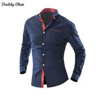 Wholesale mens dress shirt classic - Dress shirt men slim fit style male for boys Wave Point Polka Dot Casual shirt mens long sleeve Grid Classic designer Brand 4xl