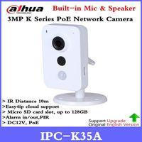 kamera sd ir ip toptan satış-Yeni Dahua IPC-K35A 3MP K Serisi PoE Ağ Kamera DC12V PoE IP Kamera IR Diatance 10 m Destek SD Kart ve Onvif Güvenlik kam