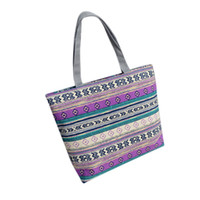 2018 New Summer Women Canvas bohemian style striped Shoulder Beach Bag  Female Casual Tote Shopping Big Bag Messenger Bags  30 a79dab3ff6594