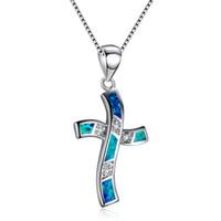 ingrosso collane opaline blu-Collane del pendente della traversa dell'opale del fuoco dell'oceano blu / bianco di modo per le donne 925 che riempiono il regalo choker di cristallo di zircon riempito