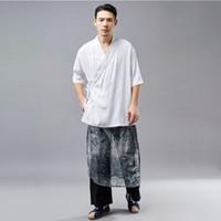 Wholesale hanfu clothes - Hisenky Men's Tang suit Hanfu Retro Sostume Wu Shu Tai Chi Clothing Shaolin Kung Fu Wing Chun Shirt Short Sleeves Loose Shirt