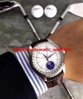 мужские часы оптовых-Роскошные часы новый 18k золото белый циферблат 39 мм фазы Луны модель мужские часы M50525-0002 автоматические мужские часы Наручные часы новый стиль