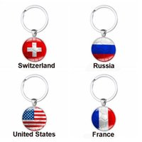 Wholesale gift souvenir keychain - 2018 Russia World Cup Football Keychain Football Match Key Buckle Metal Aluminum Alloy Country Flag Soccer Fans Souvenir Gift CCA9072 150pcs