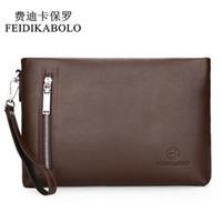 Wholesale business card envelopes - FEIDIKABOLO New 2017 Business Male Leather Purse Men's Clutch Envelope Clutches For Men Handy Bag Wallet Man Brand Designer Bags