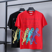 Wholesale tiger bells - Top quality Summer Cotton T-Shirts tee china tiger men print streets Luxury white 9346