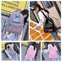 Wholesale tennis backpack wholesale - The Pink PU Backpack Outdoor Shoulders Bag Casual Backpacks Adult Students' Travel Bags Waterproof 41x30x13cm 3 Colors