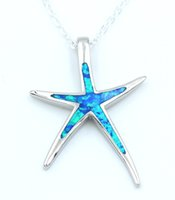 Wholesale Fire Horn - whole saleNew Blue Fire Opal Starfish Pendant Necklace for Gift