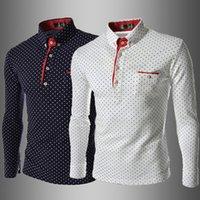 chemises en polka dot blanc achat en gros de-Chemises slim pour hommes non repassées 7519 Polka Dot classic man Chemises à col blanc, bleu marine, bleu marine