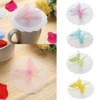 kelebek kahvesi toptan satış-Sevimli kelebek silikon bardak kapakları anti-toz sızdırmaz drinkware kapak kap kahve çay bardağı kapaklar kapak Mutfak Aletleri