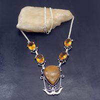 collar elegante de las mujeres al por mayor-Rare Stylish Gold Tigers Eye Honey Topaz925 Joyería de Plata Esterlina Mujeres Colgante Collar 17 Pulgadas TF796