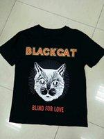 gedruckte blinds groihandel-17FW Luxus Europa italien Blind Für Liebe Schwarze Katze T-shirt Mode Männer Frauen drucken T-shirt Casual Baumwolle T Top