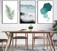 abstrakte landschaft gemälde einzigen leinwand großhandel-Abstrakte Landschaft Geometrie Leinwand Gemälde Moderne Nordischen Stil Skandinavischen Wandkunst Poster Bild für Wohnzimmer Wohnkultur
