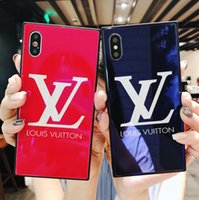 Wholesale plastic card printing - Luxury brand printed English letters tempered glass phone case for iphone X 7 7plus TPU + PC hard cover for iphone 8 8plus case