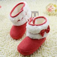 ingrosso scarponi da neve bianchi per bambini-Newborn Baby Girl Bowknot Fleece Snow Boots Stivaletti per bambini Princess Winter Solid White Shoes 0-18 M