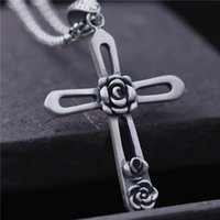 Wholesale Male Heart Necklace - hip hop jewelry 990 sterling silver pendant charms rose cross pendant women christian Jesus vintage male pendant