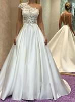 Wholesale strapless lace covered evening dress online - Elegant White Satin Prom Dresses One Shoulder Art Deco inspired Neck lace Applique Backless Party Dresses Evening Dresses