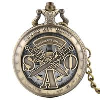 kuvars saat online toptan satış-Steampunk Vintage Cep Saati Hollow SAO Sword Art Online Oyunları Erkekler Kadınlar için Kuvars Kolye Zinciri Reloj De Bolsillo Hediyeler