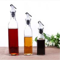 botellas de vinagre de aceite de vidrio al por mayor-De aceite de cristal transparente con herramientas de Cap de fugas Botellas Prueba salsa de vinagre Resuable Eco Friendly cocina del hogar 3 2yt3 BW