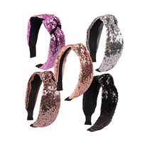 Wholesale korean ladies hair - Korean version cute sequins hair hoop girls lady fashion wide plate fabric hairband solid colors knot princess hair accessories