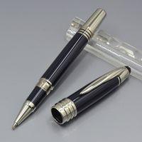 encre noire achat en gros de-Stylo à bille roulante en métal bleu foncé JFK de haute qualité / stylo à bille / stylo à plume papeterie de bureau de luxe 4810 écrire stylos à encre cadeau (pas de boîte)
