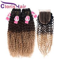 32 inç sapık kıvırcık saç toptan satış-Kinky Kıvırcık Sarışın Ombre Örgüleri Kapatma Ham Hint brezilyalı Virgin İnsan Saç Paketler Dantel Kapatma Ile 1B 4 27 Renkli Kıvırcık Uzantıları