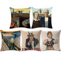 Wholesale bedroom painting portraits resale online - Clawn Portrait Cushion Cover Styles I WANT YOU Oil Painting Home Decorative Pillow Covers Bedroom Sofa Decoration