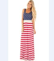 Wholesale Long Sleeveless Stripped Dresses - Wholesale Free Shipping Sexy New Women Sleeveless Slim Fitting USA American Flag Print Strips Summer Casual Beach Party Long Maxi Dress