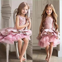 Wholesale gorgeous beauty - Gorgeous Pink Toddler Flower Girl Dress For Wedding A-line Knee Length Beauty Pageant Dress Christmas Ruffles Girl Evening Party Gown 2018