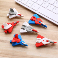 образные ластики оптовых-JOUDOO Cute Cartoon Plane Shape Eraser Colorful Aircraft Rubber Pencil Erasers School Supplies Creative Stationery for Kids