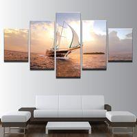 gemälde segelboote großhandel-HD Prints Bilder Modular Leinwand Wandkunst Frameless 5 Stück Sonnenuntergang Segelboot Seascape Gemälde Home Decor Boot Segeln Poster