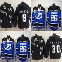 ingrosso vendita delle baia-Vendita calda Mens Tampa Bay Lightning 9 Tyler Johnson 26 Martin St. Louis 30 Ben Bishop Best Quality Cucito Hockey su ghiaccio con cappuccio