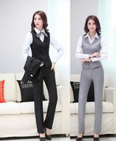 blazer professional toptan satış-Yeni Üniforma Tasarım İlkbahar Yaz Profesyonel Iş Takım Elbise Yelek + Pantolon Kadın Blazers Bayanlar Ofis Pantolon Seti Için Artı Boyutu
