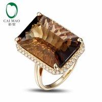 gelbe smaragdringe großhandel-14 Karat Gelbgold 16.62CT Emerald Cut Rauchigen Topas Engagement Diamant Ring