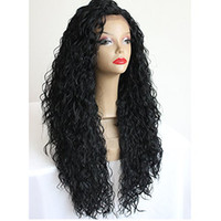 Wholesale Japanese Hair Wigs - Japanese Hair Heat Resistant Fiber Long Black Curly Synthetic Lace Front Wigs Afro Kinky Curly Synthetic Wigs for Black Women