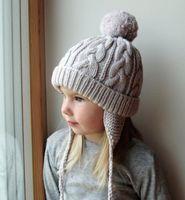 neugeborene hüte ohren großhandel-Neugeborene Häkelarbeit-gestrickte Hüte 0.5-6Years Baby-Hut-Winter-Hüte für GirlsBoy Wolle-starke warme gestrickte Ohren Beanie Fuchspelz-im Freiensport-Kappen